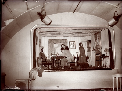 Nissen hut stage and lighting